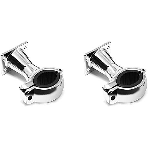 Abrazaderas de manillar de dirección de repuesto universal para los altavoces estéreo de los sistemas de audio de motocicleta Aileap (cromo, abrazadera de dirección de 1 a 1,25 pulgadas)