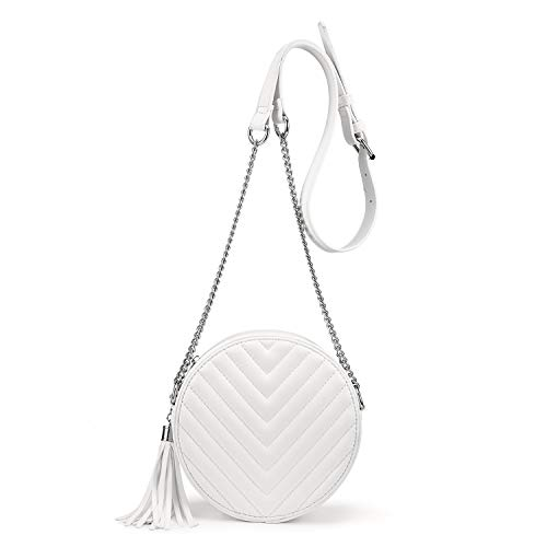 【Features】Mini crossbody bag, Top zipper closure, high-quality hardware in silver, with tassel design make this round purse more fashionable and durable 【Structure】Small crossbody purse:Inside 1 main compartment, 1 zipper pocket, and 3 card slots, wh...