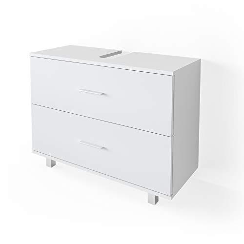 VICCO Waschbeckenunterschrank Ilias Schublade Unterschrank Badezimmer (Weiß)