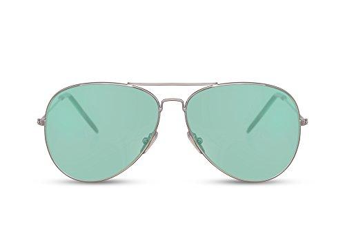 Cheapass Sonnenbrille Piloten-Brille Silber Grün Getönt-e Linsen UV-400 Cat-2 Designer-Brille Rund Damen Herren