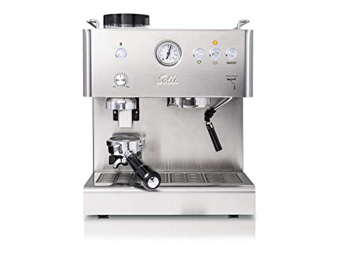 Solis espressomachine, geïntegreerd maalwerk, manometer, stoom- en warmwaterfunctie, 58 mm professionele zeefhouder, 15 bar, 1,8 l watertank, roestvrij staal, Personal Barista (type 1150)