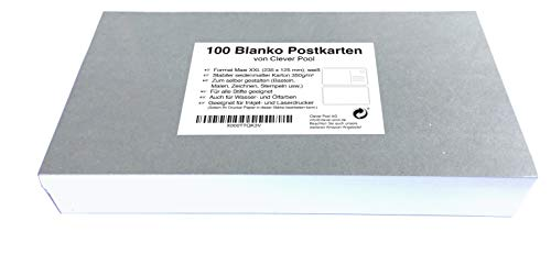 Clever Pool, Blanko Postkarten zum Selbstgestalten, Postkarte aus weißem 350g Karton, Postkarten zum Bedrucken, 100 x XXL