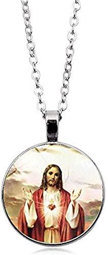 LBBYLFFF Collar Virgen María Madre del bebé Collar Jesús Cristiano Colgante Católico Religioso Vidrio Collar de Jesús