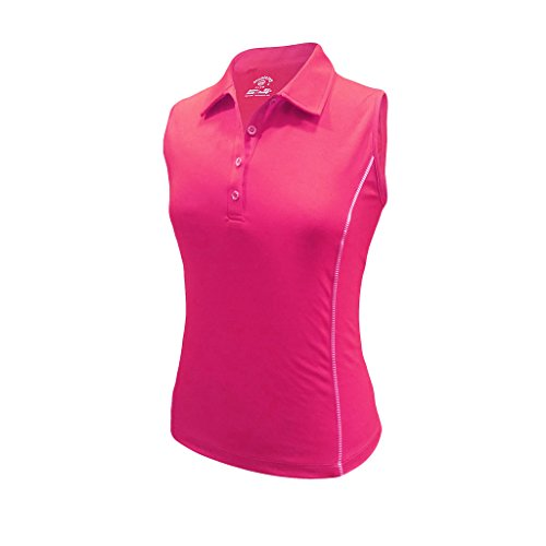 Monterey Club Women's Pro Contrast Sleeveless Polo #2373 (Very Berry, Medium)