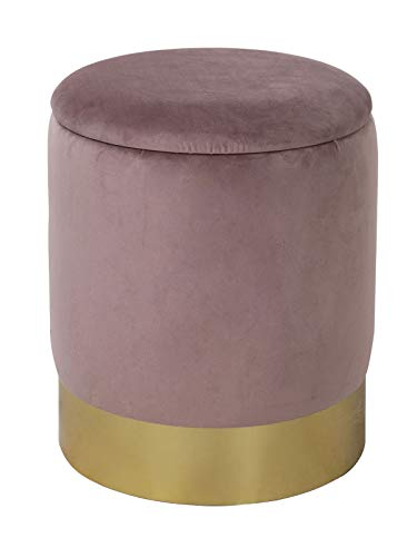 casamia Samthocker Sitzhocker Samt Pouf Sitzpouf Velour Hocker Hochwertig mit Stauraum u. Deckel Ø 31 H 38 cm Farbe zartlila