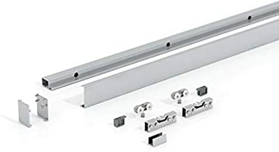 Glazen schuifdeurbeslag rail voor 2 vleugelige glazen schuifdeuren beslag Levidor in ca. 4000 mm lengte voor schijven in b...