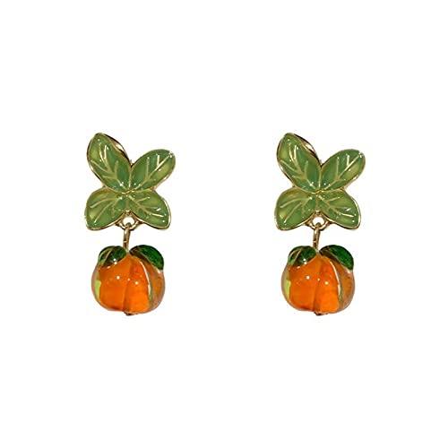 ZJHGQ Pendientes de gota de caqui naranja 3D lindos frutos simples Morden cuelgan encantadores accesorios de joyería para mujeres niñas