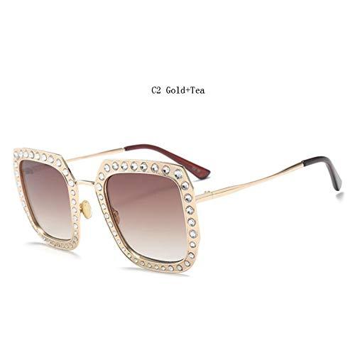 Taiyangcheng Gafas de Sol cuadradas Mujer Gafas de Sol de Diamantes de imitación Espejo de Mujer Rosa Gafas