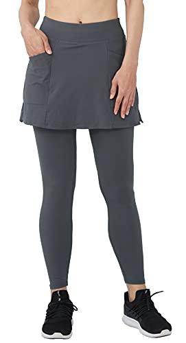 Westkun Legging Jupe Femme Course à Pied Golf Tennis Sport Toute la Longueur Elastique Poids Léger Skort Jupe avec Pantalons 2 en 1 de Jogging Tenue Décontractée(Gris-Jupe Courte,S)