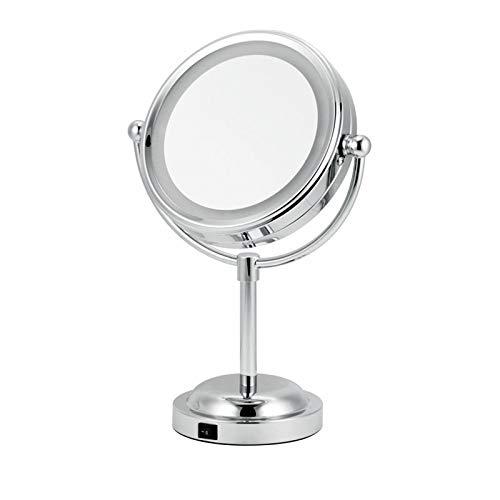 Miroir De Vanité De LED, Miroir De Maquillage De Table De Dressage avec 3X 6 Pouces 360° Double Face Pivot en Forme De Miroir Cosmétique À Usage Domestique WENNIU