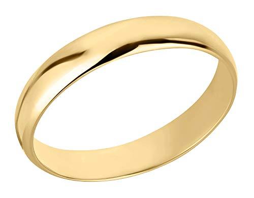 Ardeo Aurum Trauring Unisex Damenring Herrenring aus 375 Gold Gelbgold in 4 mm Breite massiv Ehering Modell 102 Größe 65