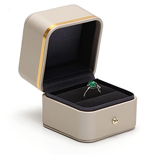 Cajas para joyas Caja de joyería Caja de cuero PU, joyas de terciopelo para propuesta de compromiso, regalo de boda-joyería de almacenamiento de caja de almacenamiento Pendientes de anillo de joyería