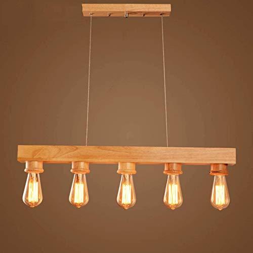 Lámpara de suspensión Vintage Island Lámpara Colgante Madera Mesa de Comedor de 5 Cabezas Lámpara Colgante Sala de Estar Restaurante de Oficina Decoración de Techo Accesorio de iluminación E27 Bar