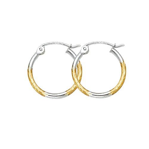 TGDJ - Pendientes de aro de oro blanco amarillo de 14 quilates con corte de diamante (diámetro: 15 mm)