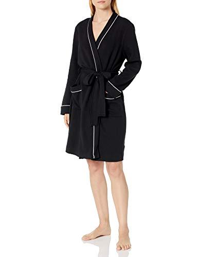 Amazon Essentials Women's Lightweight Waffle Mid-Length Robe, Black, Medium