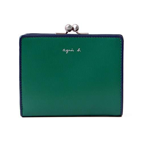 [名入れ可](アニエスベーボヤージュ)agnesb.VOYAGEレザーウォレット本革がま口二つ折り財布JW01-03ショップバッグ付(名入れなし,グリーン)