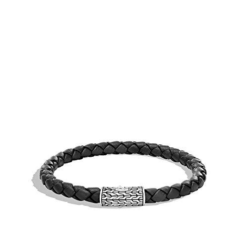 Pulsera de cadena clásica de plata tejida redonda para hombre, con cordón de piel negro de 5,5 mm con cierre de empujador