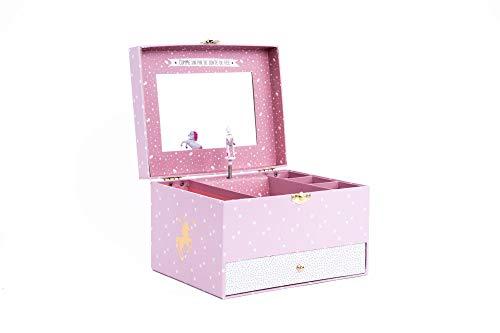 EMAKO Joyero infantil con caja de música y espejo, diseño de unicornio, caja con 5 compartimentos y cajón de cartón, 21,5 x 16,5 x 14 cm