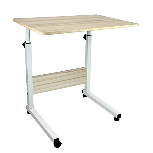 Height Adjustable Mobile Table Workstation Laptop Overbed Multi Table with Metal Frame & Rolling Castors - Birch