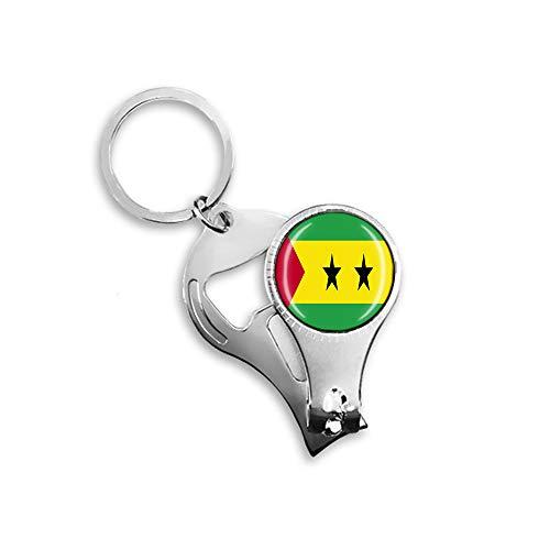 Sao Tome and Principe Flagge Bierflaschenöffner Nagelknipser Metall Glas Kristall Schlüsselanhänger Reise Souvenir Geschenk Schlüsselanhänger Zubehör