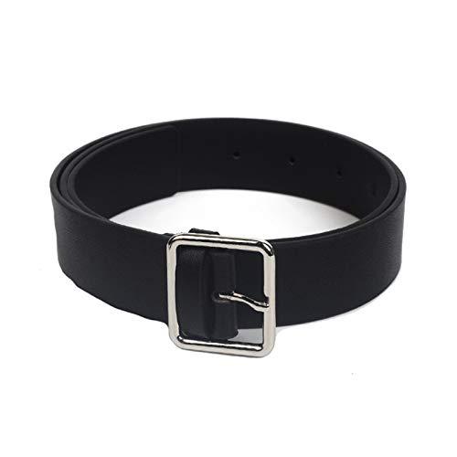 ANAZOZ Cinturones de Mujer Largos 105 CM Cinturón Ancho Hombre 3.3 CM Cinturones Cuero Mujer Negro