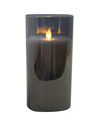 Hochwertige & Eckige LED Kerze im Glas Windlicht - Flammenlose & Flackernde Echtwachskerze (Grau, Höhe:17,50cm)