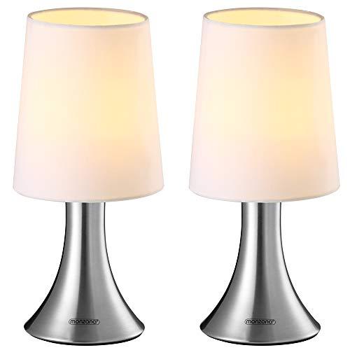 Monzana 2er Set Tischlampe Touchfunktion Tischleuchte 3 Helligkeitsstufen Stoffschirm Weiß Nachttischlampe Leuchte Lampe