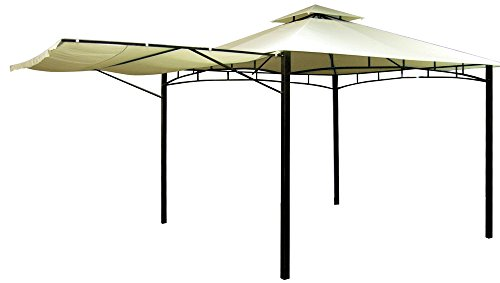 VERDELOOK Gazebo Antigua con struttura in metallo verniciato, 3.30x3.30 m, telo beige e struttura grigio scuro