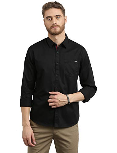 Breakbounce Men's Solid Slim Fit Casual Shirt (SH1302_Black_Large)