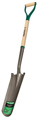 Truper 31284 Tru Tough 16-Inch Drain Spade, Steel D-Handle, 30-Inch