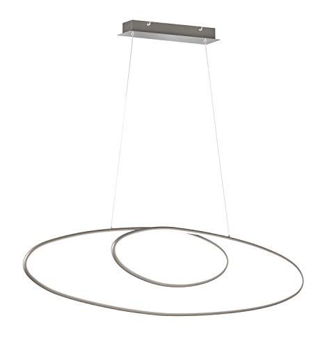 Trio Leuchten LED Pendelleuchte Avus 329010107, Metall Nickel matt, inkl. 35 Watt LED, Switch Dimmer