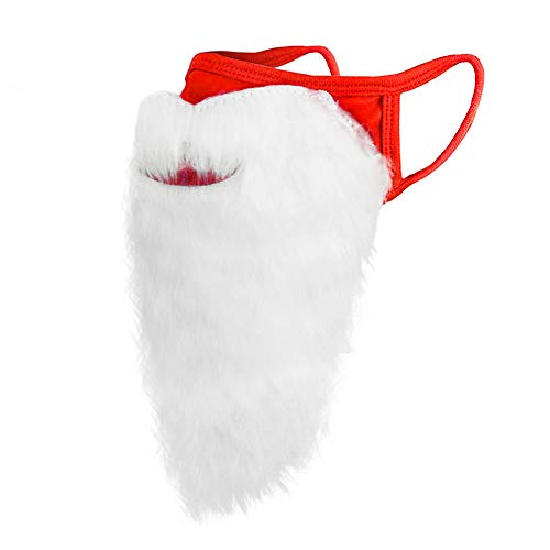 Christmas Santa Claus Beard Mask, Holiday Xmas Red Funny Father Christmas Beard Face Coverings for Men Women Adults Christmas Party Cosplay, One Size fits All (Red-1Pc)