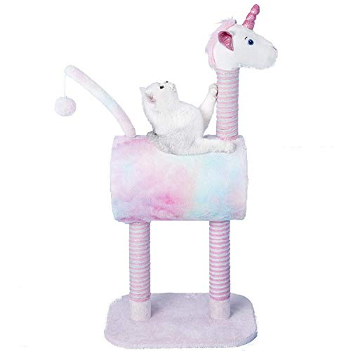 TOPKITCH Activity Cat Tree Condo with Scratching Posts &, Activity Tower Cat Play House Furniture (Unicorn)