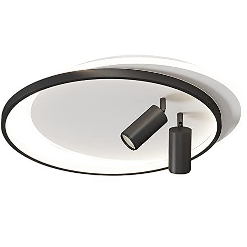 Luces de techo LED de atenuación continua con foco, iluminación interior acrílica moderna nórdica Lámparas de techo LED creativas para la sala de estar del dormitorio,Negro,46+10W