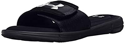 Under Armour Men's Ignite V Slide Sandal, Black (001)/White, 12