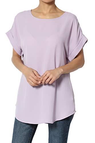 TheMogan Women's Cuffed Dolman Short Sleeve Relaxed Chiffon Top Dusty Lavender XL