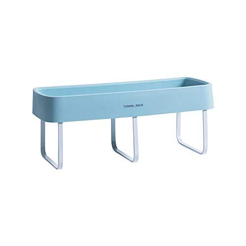 U/D Sygjal Barra de Toalla Toalla Rack Gratuito de perforación de Toallas de baño Toalla de Aluminio del Espacio de Rack Rack de baño PP (Color : Azul, Size : Gratis)