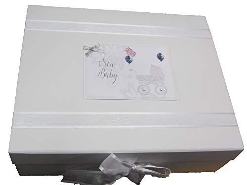 White Cotton Cards DTS2X Boîte à souvenirs pour landau Rose