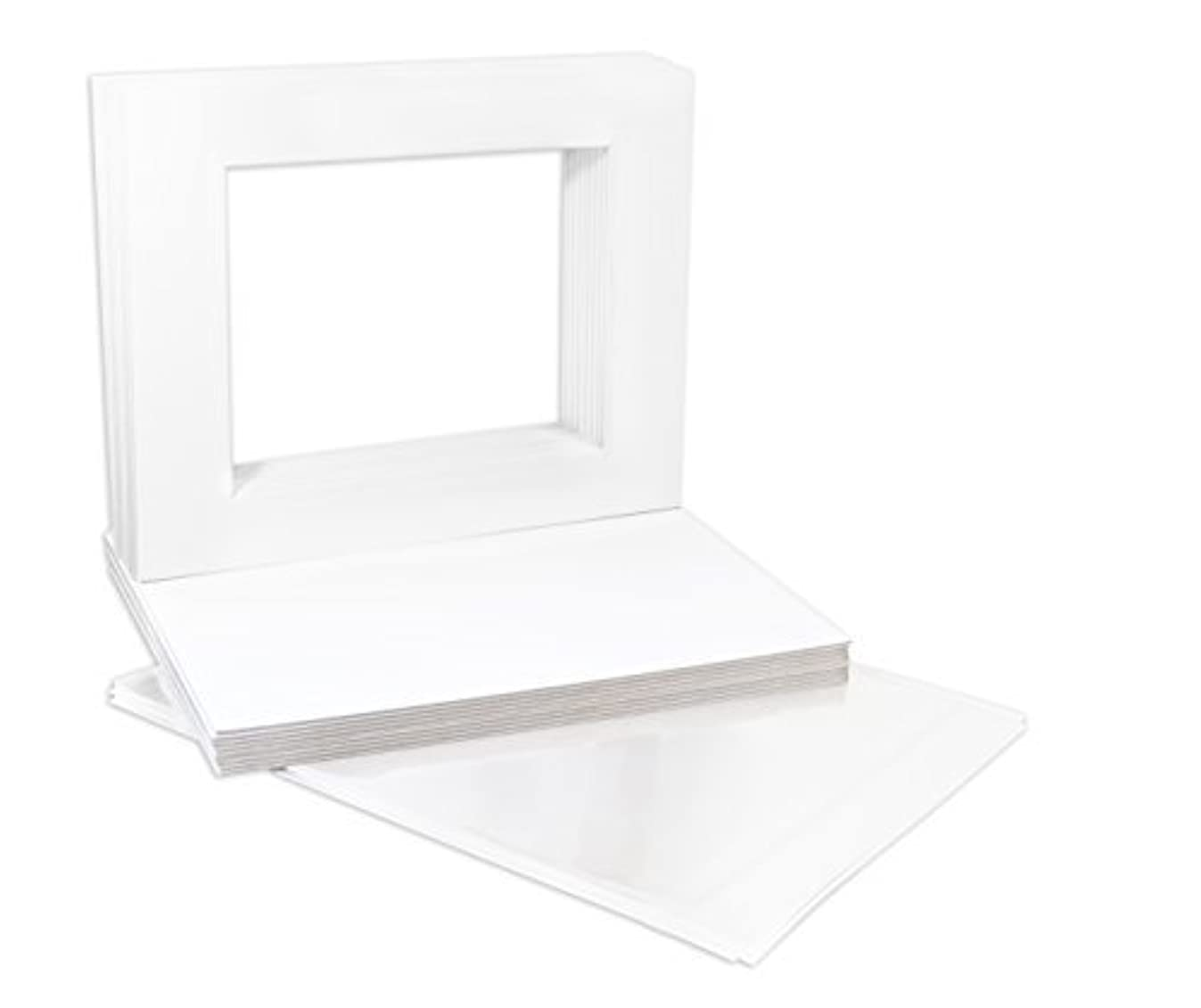 Golden State Art, Pack of 25, 11x14 White Picture Mat Set - Fit 8x10 Photos/Prints - Acid Free Bevel Pre-Cut White Core Mattes - with 25 Backing Board & Clear Bags