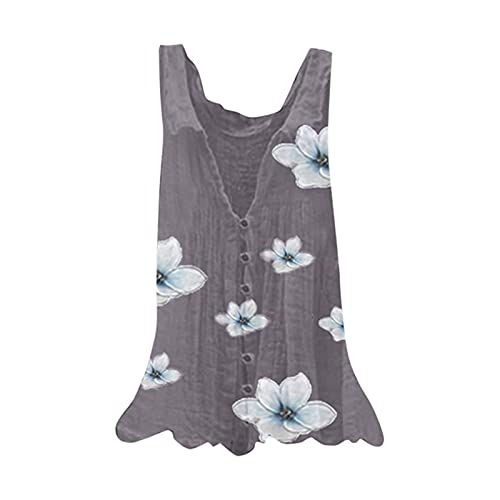 Julhold Camisa de mujer casual estampado floral sin mangas con cuello en V blusa suelta botón Top