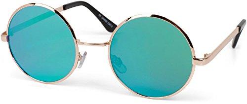 styleBREAKER Gafas de sol lentes redondas y planas y montura metálica de acero inoxidable, unisex 09020064, color:Marco dorado/vidrio verde-azul