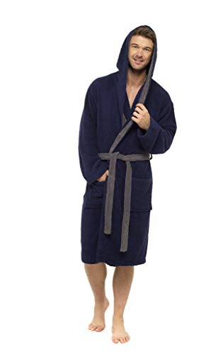 CityComfort Dressing Gown for Men, 100% Cotton Towelling Robe with Hood and Belt, Bath Robe for Gym Holidays Shower, Gifts for Men Teenage Boys (M/L, Navy)