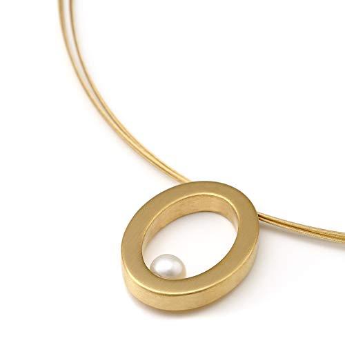 Heideman Halskette Damen aus Edelstahl Gold farbend matt Kette für Frauen mit Süßwasserperle Perle Weiss rund 6mm