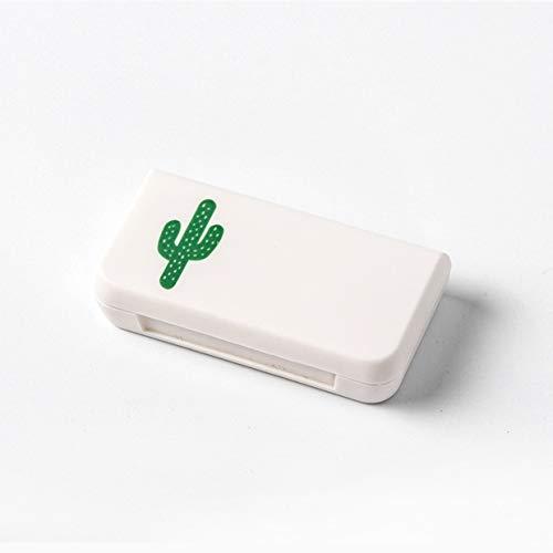 MXECO Pastillero portátil Cajas de Almacenamiento de medicamentos 3 enrejados Pastilla Kit médico Pequeño Kit Organizador Estuche Cactus