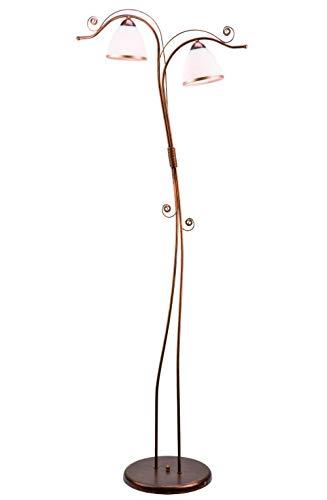 Wohnzimmer Stehlampe NARELLA Jugendstil 158cm in Shabby Braun Glas Metall Stehleuchte Standlampe