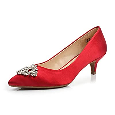 FOOTSELF Dunion BRIOCHE Women's Fashion Comfortable Rhinestone Embellished Buckle Pointed Toe Kitten Heel Dress Party Wedding Pump,BRIOCHE RED,10 M US