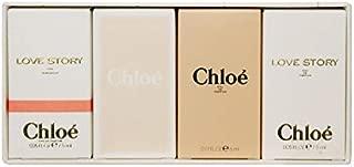 Chloe For Women 4 Piece Mini Set (Chloe Eau De Parfum Spray 5ml + Chloe Eau De Toilette Spray 5ml + Chloe Love Story Eau De Toilette Spray 7.5 ml + Chloe Love Story Eau De Parfum Spray 7.5 Ml)