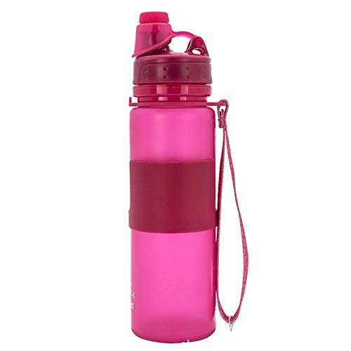 RUIRUI 650ml de la Taza de Agua Deportiva Gel de sílice Sellado y a Prueba de Fugas La Taza Plegable es Ligera y Conveniente para el hogar/Rosa al Aire Libre
