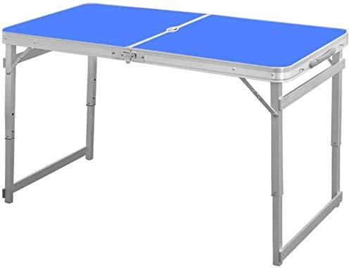 LQ Mesas Plegables de Aluminio 1,6 M Comida campestre Que acampa Ajustable Altura jardín al Aire Libre del Partido de Interior con Orificio de Parasol (Size : Blue)