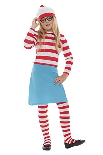Smiffys Disfraz infantil de Wenda de Dnde est Wally?, Rojo y blanco, con gorro, parte de arriba, falda, gafas y medias, 12+ Aos